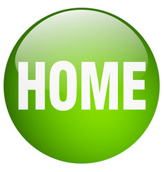 Home green round gel isolated push button vector