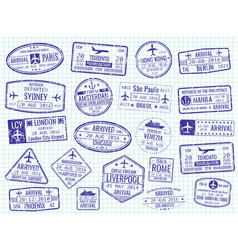 International visa stamps - arrival departure vector