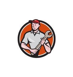 Mechanic worker standing spanner circle cartoon vector