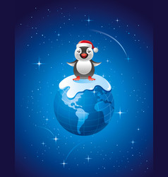 merry christmas dear planet poster with earth in vector image vector image