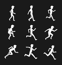 Motion activity figure icons human actions like vector