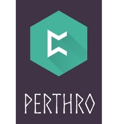 Perthro rune of elder futhark in trend flat style vector