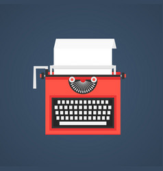 Red typewriter isolated on dark blue background vector