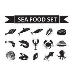 Sea food icons set silhouette shadow vector