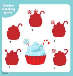 shadow matching game kids activity with creamy vector image