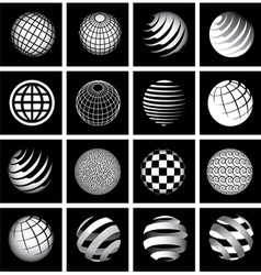 Sixteen globes in black and white vector