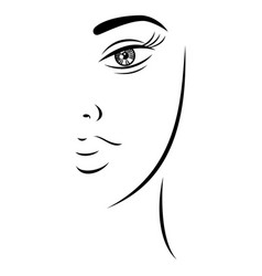 Sketch drawing pretty lady face vector