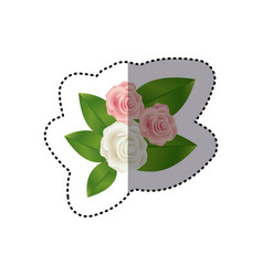 Sticker bouquet bud roses with leaves floral vector