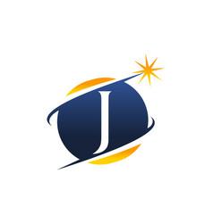 Swoosh logo letter j vector