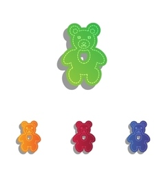 Teddy bear sign Colorfull applique vector image vector image
