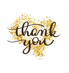 thank you text on gold background in form of heart vector image vector image