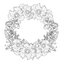 vintage round frame with flowers Floral vector image vector image