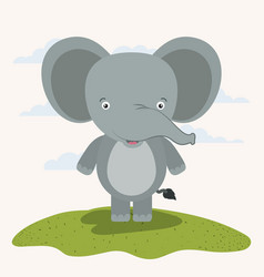 White background with color scene cute elephant vector