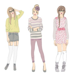 young cute fashion teenager girls vector image vector image
