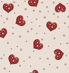 Hearts and pearls seamless background pattern vector