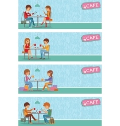 Couples of people in cafe vector