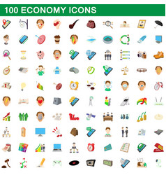 100 economy icons set cartoon style vector