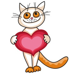 A cat with a big heart vector