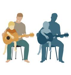 Father and son guitar vector