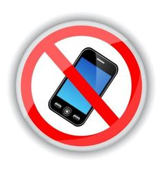 Sign banning cell phones vector