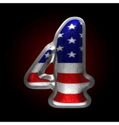 American metal figure 4 vector