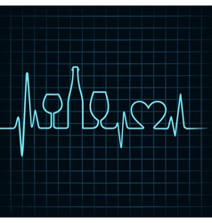 Heartbeat make wine glassesbottle and heart vector