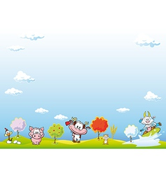 Animal farm background vector