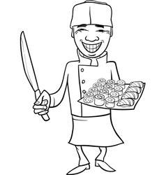 Japan sushi chef cartoon coloring page vector