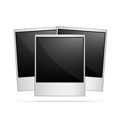 Empty retro photo frames on white background vector image