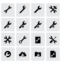 Black settings wrench icon set vector