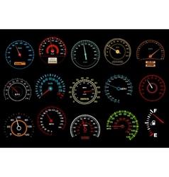 Car speedometers on black background vector image