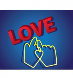 3d love text with cursor vector image vector image