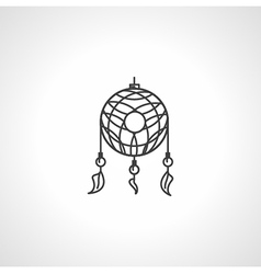 Black line dream catcher icon vector
