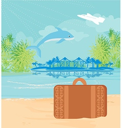 Tropical island paradise with leaping dolphin vector