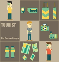Tourist people flat cartoon vector