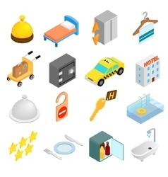 Hotel isometric 3d icons set vector
