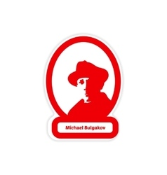 Paper sticker on white background michael bulgakov vector