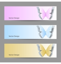 Set of horizontal banners with paper butterflies vector