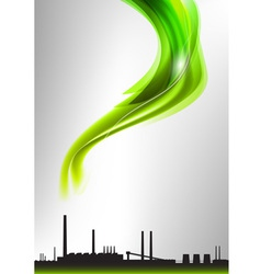 Factory white curve green vector