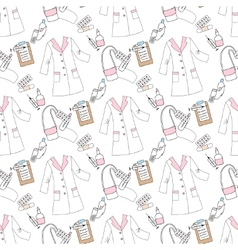 Seamless pattern with medical things vector