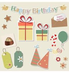 Birthday design elements for scrapbook vector