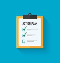 Action plan clipboard icon design over a blue vector