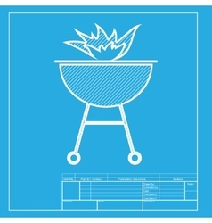 Barbecue with fire sign white section of icon on vector