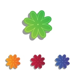 Flower sign  colorfull applique icons vector
