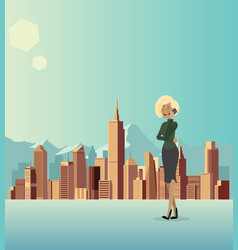 a woman is talking about business in the city vector image vector image