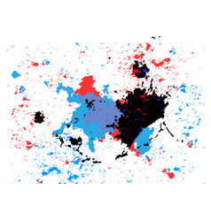 Abstract splatter blue red and black color vector