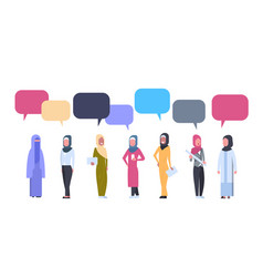 Arabic women group with chat bubbles over white vector
