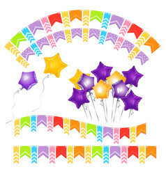 balloons in shape of gold five-pointed star and vector image vector image