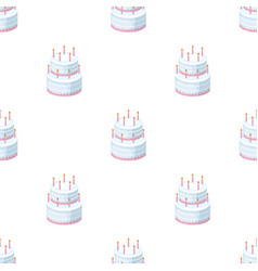 Birthday cake icon in cartoon style isolated on vector