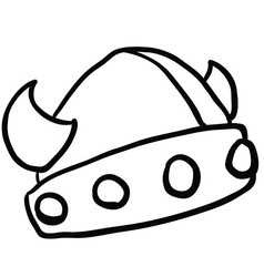 black and white viking helmet vector image vector image